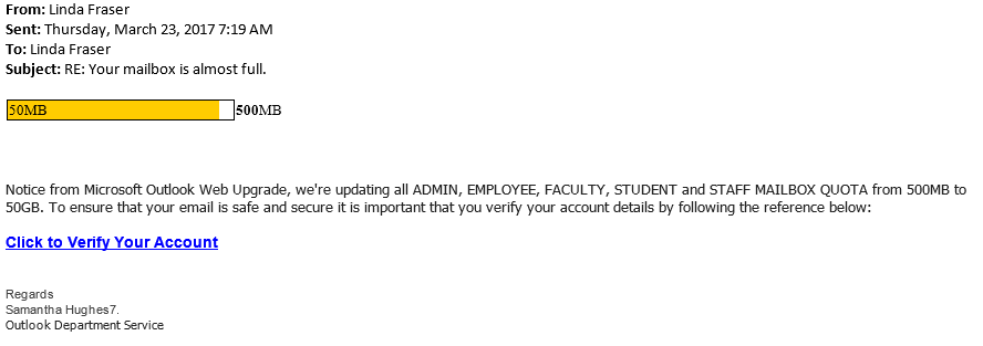 Fraudulent Email Alert: RE: Your mailbox is almost full